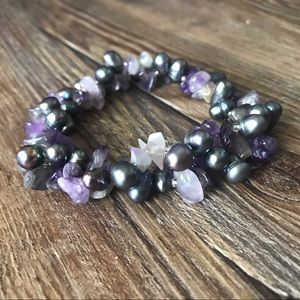 Jewelry - Amethyst & Cultured Pearl Beaded Bracelet